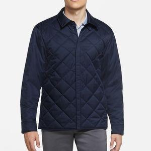 NIKE Men Navy Blue Light Button Up Quilted Jacket
